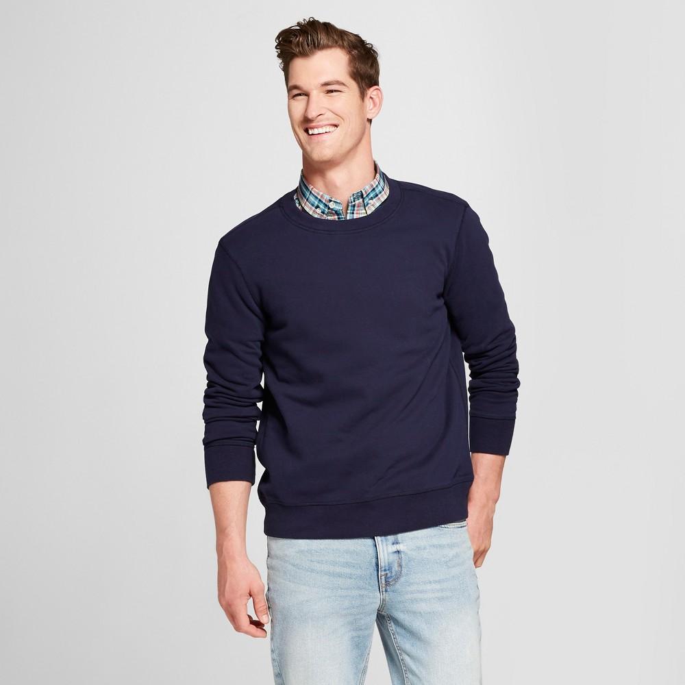 Men's Standard Fit Long Sleeve Sensory Friendly Crew Neck Sweatshirt - Goodfellow & Co Xavier Navy L