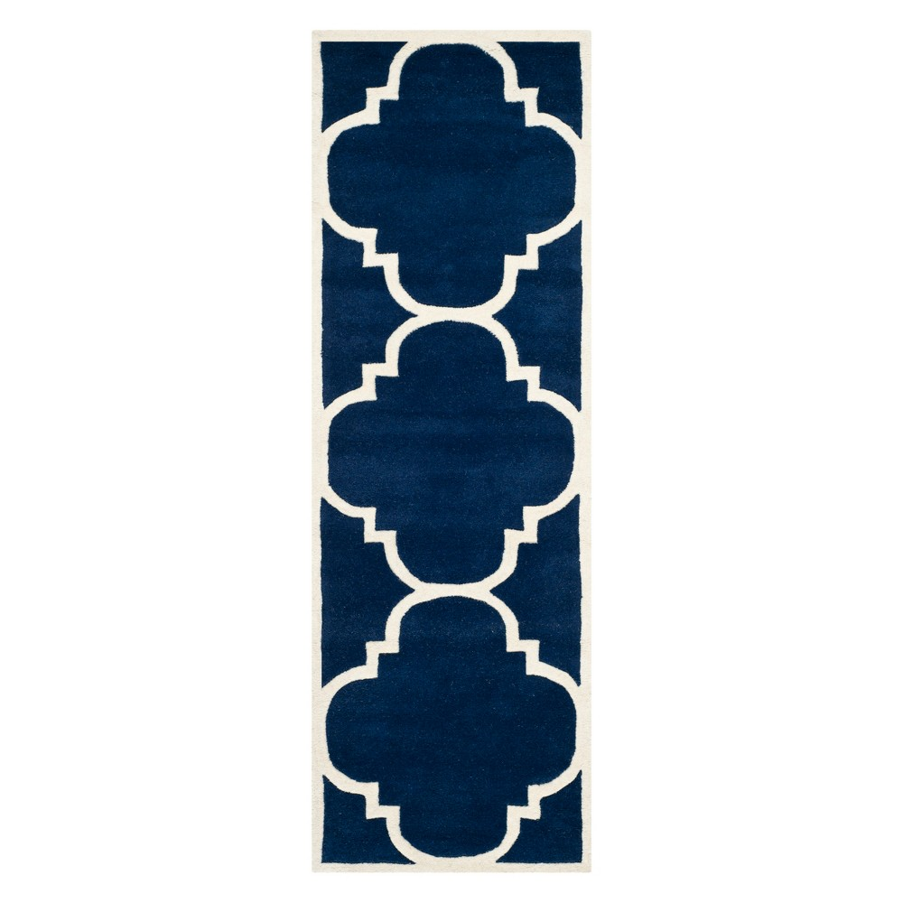 Best Review 23X9 Quatrefoil Design Tufted Runner Dark BlueIvory Safavieh