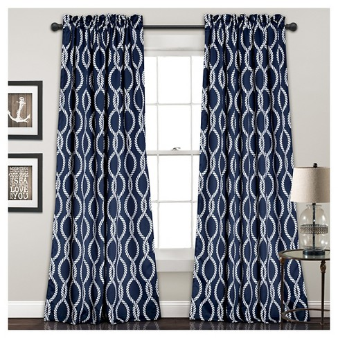 "Rope Knot Room Darkening Window Curtain Set Navy (52""x84"") - Lush Dcor - image 1 of 4"