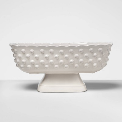 6.2  x 5.3  Hobnail Terracotta Footed Bowl White - Opalhouse™