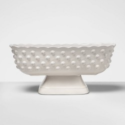 "6.2"" x 5.3"" Hobnail Terracotta Footed Bowl White - Opalhouse™"