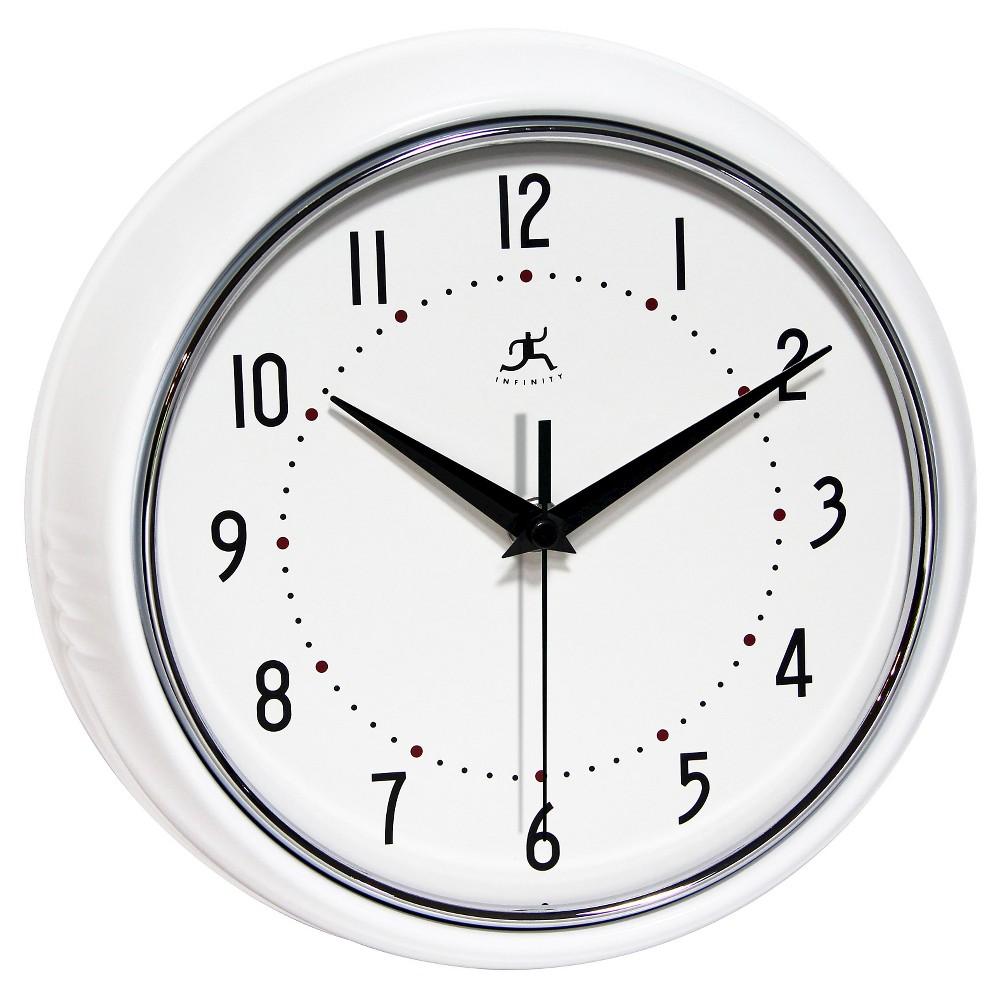 The Retro Round Wall Clock White - Infinity Instruments