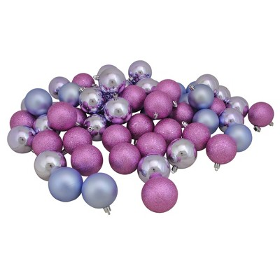 "Northlight 60ct Pink and Purple Shatterproof 4-Finish Christmas Ball Ornaments 2.5"" (60mm)"