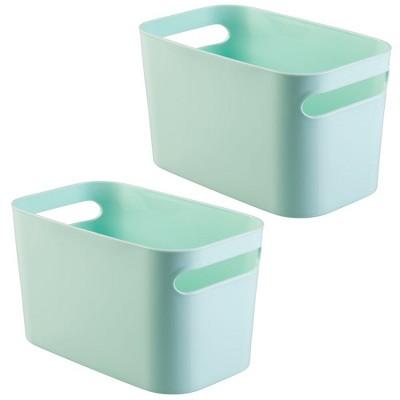 "mDesign Plastic Kids Toy Box Storage Organizer Tote Bin, 10"" Long, 2 Pack"