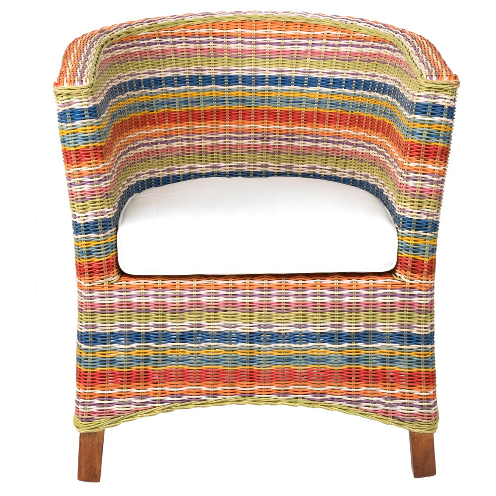 Highland Rattan Occasional Chair - Multi Colored - East At Main, Multi-Colored