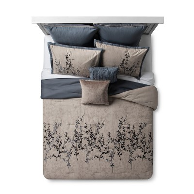 Blue & Taupe Embroidered Hexton Comforter Set (Queen)8pc