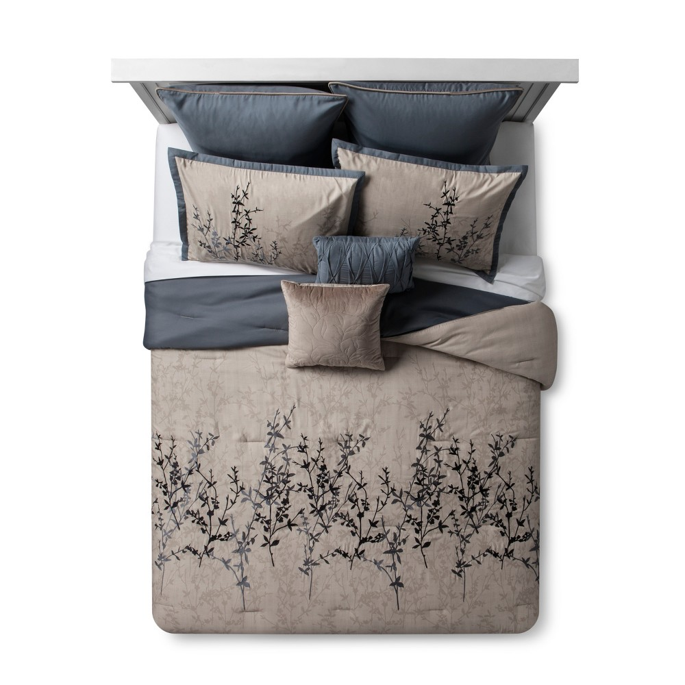 Image of Blue & Taupe Embroidered Hexton Comforter Set (King) 8pc, Blue Gray