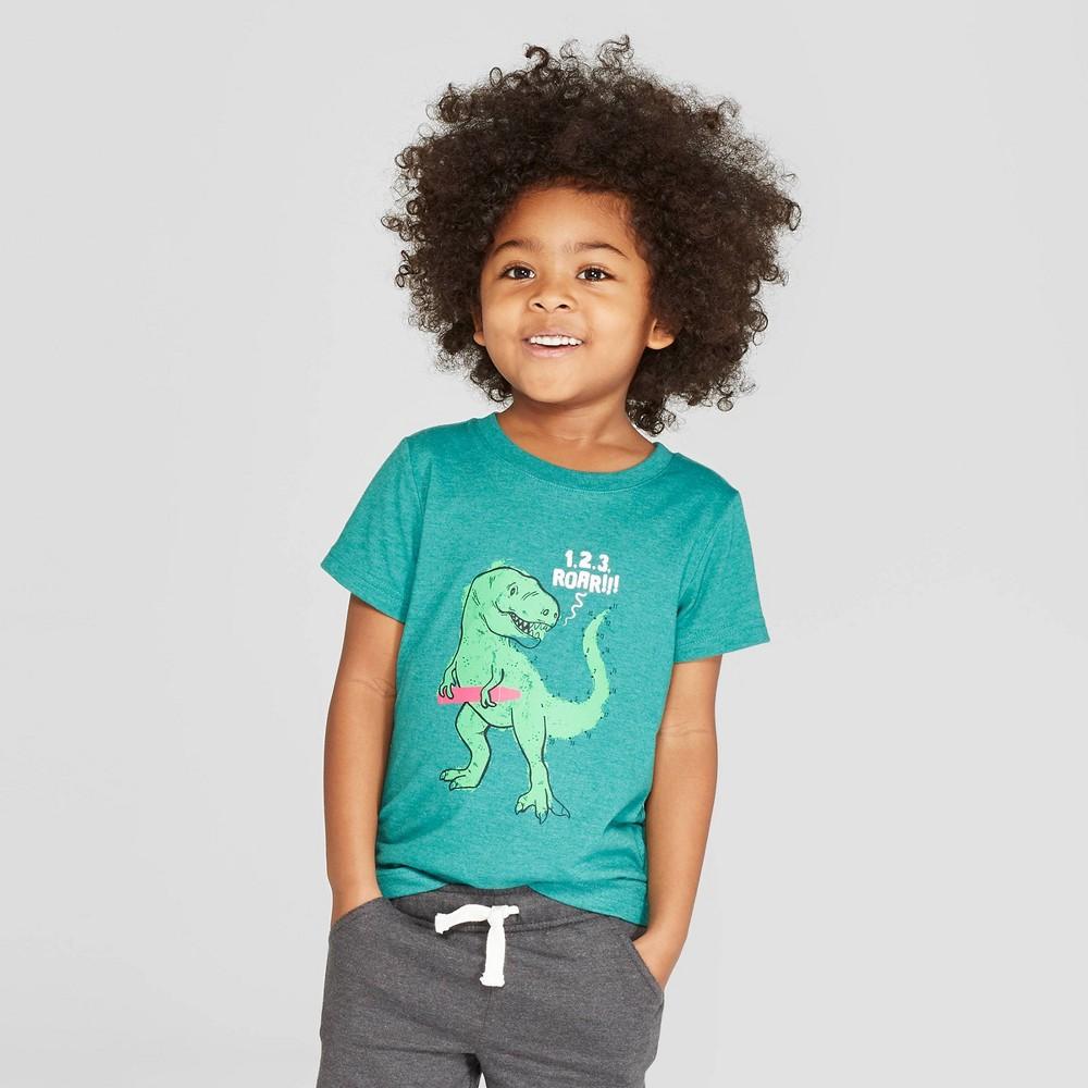 Toddler Boys' Short Sleeve Connect-the-Dots Dinosaur T-Shirt - Cat & Jack Dark Green 18M