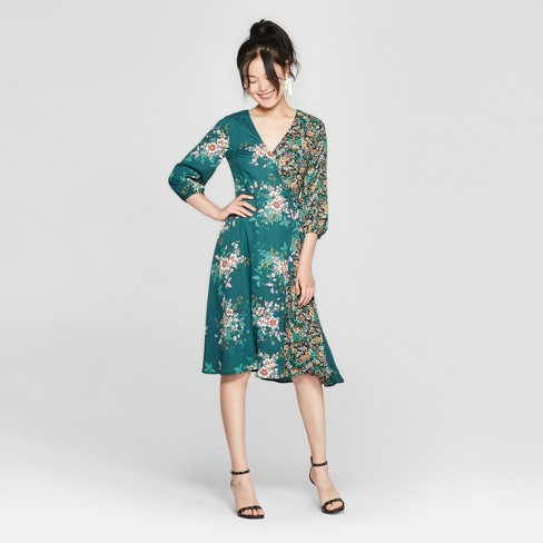 131c86d68bfe Women s Floral Print Long Sleeve Midi Dress - 3Hearts (Juniors ) Forest  Green