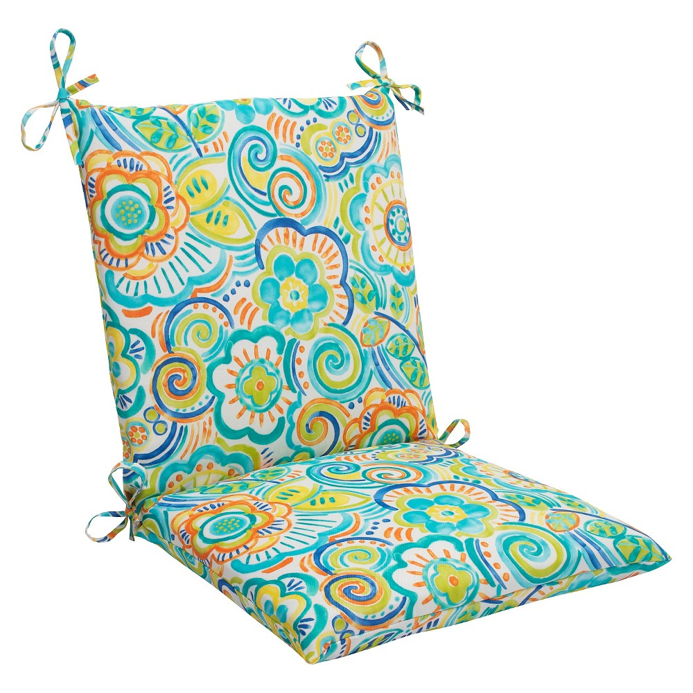 Pillow Perfect Bronwood Outdoor Squared Edge Chair Cushion - Multicolored, Blue