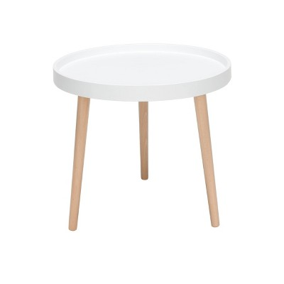 Mid-Century Modern Plastic End Table with Solid Wood Legs White - OFM