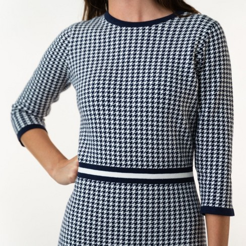 Hope & Henry Womens' 3/4 Sleeve Houndstooth Sweater Dress - image 1 of 4