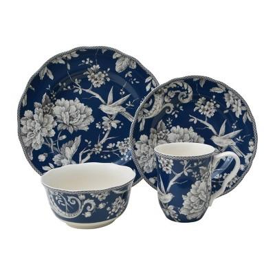 16pc Porcelain Adelaide Dinnerware Set Dark Blue - 222 Fifth