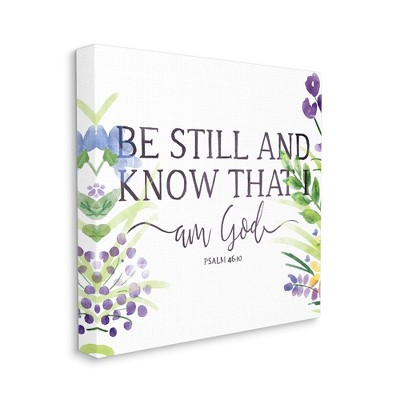 Stupell Industries Be Still Faith Based Quote Purple Spring Florals
