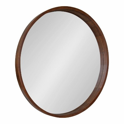 """36"""" Hutton Round Wall Mirror Walnut Brown - Kate & Laurel All Things Decor"""