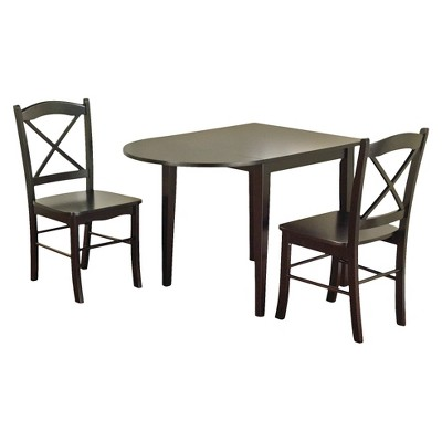 Beau 3 Piece Tiffany Dining Table Set Wood/Black   TMS