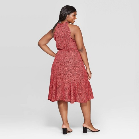 b8f0ef412ae Women s Plus Size Leopard Print Short Sleeve Halter Neck Dress - Who What  Wear™ Red