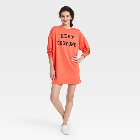 Women's Best Costume Long Sleeve Graphic Sweatshirt Dress - Orange - image 1 of 2