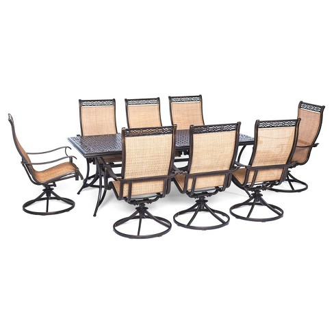 Legacy 9pc Rectangle Metal  Dining Set with Eight Swivel Rockers - Tan - Hanover - image 1 of 7