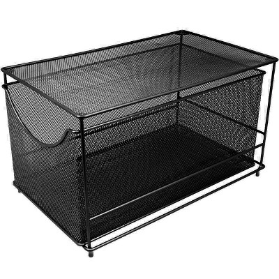 Sorbus Mesh Steel Drawer Cabinet Organizer With Cover Black