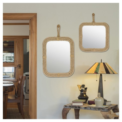 Square Decorative Wall Mirror With Rope Light Brown Ckk Home Decor Target