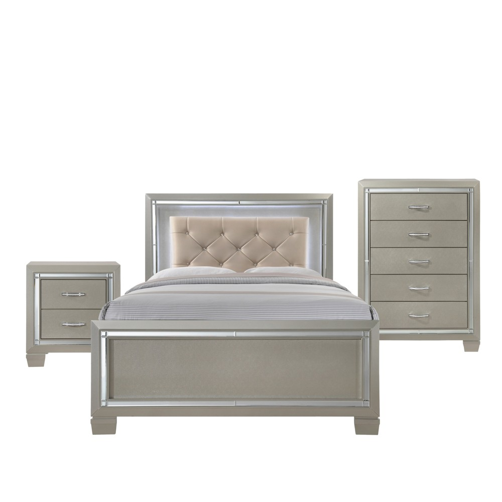 Image of 3pc Glamour Youth Full Platform Bedroom Set Champagne - Picket House Furnishings, Beige