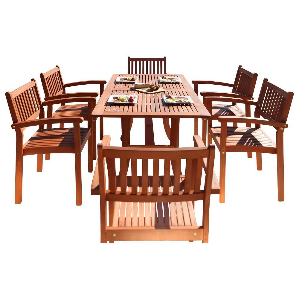 Malibu 7pc Rectangle Wood Patio Dining Set - Brown - Vifah
