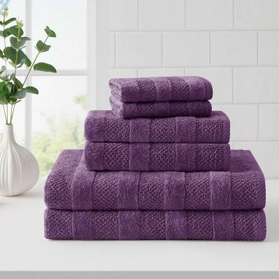 6pk Quick Dry Bath Towel Set Plum - Cannon