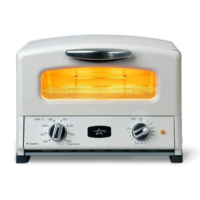 Sengoku SET-G16A(W) HeatMate Graphite Compact Countertop Toaster Oven with 4 Non-Stick Pans for Toasting and Baking, 120 Volt, Eggshell White