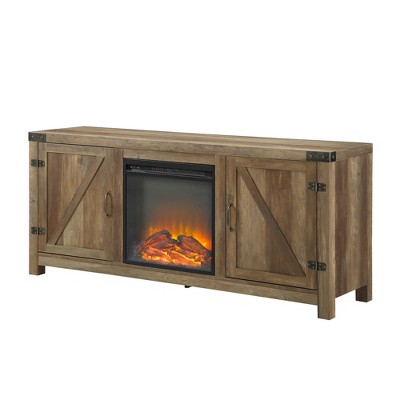 "58"" Modern Rustic Barn Door TV Storage Console with Electric Fireplace Rustic Oak - Saracina Home"