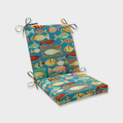 Hooked Beach Squared Corners Outdoor Chair Cushion Blue - Pillow Perfect - image 1 of 1