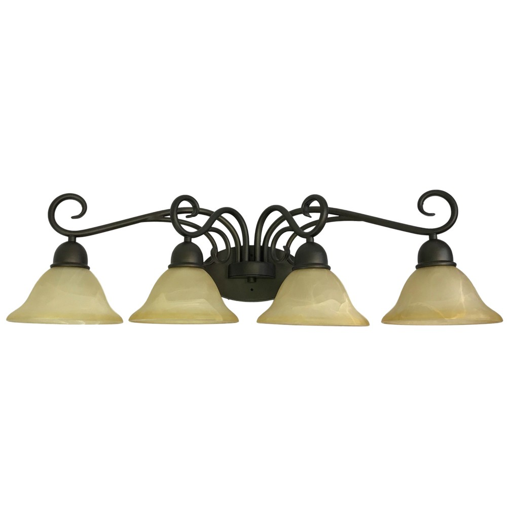 "Image of ""Mounted Classic Bathroom Wall Lights with Amber Glass Shades bronze 32"""" - Thr3e Lighting"""