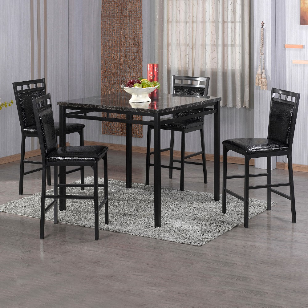 5pc Counter Height Table Set - Black - Home Source Industries