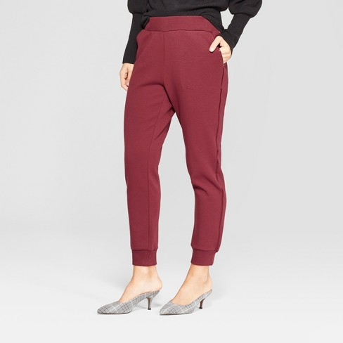 Women's Pull On Track Ankle Pants - Who What Wear™ Burgundy XL - image 1 of 3