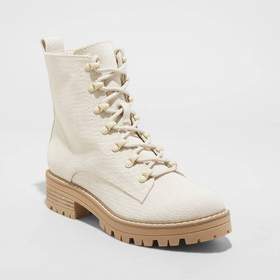Women's Parker Lace Up Boots - Universal Thread™ Cream