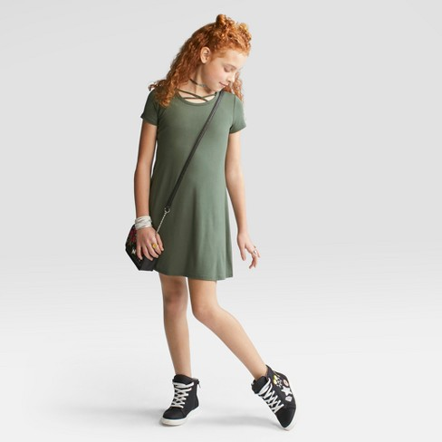 Girls' Short Sleeve Strappy Neck Dress - art class™ Olive - image 1 of 3