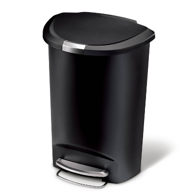 Simplehuman 50L Semi Round Plastic Step Trash Can Black