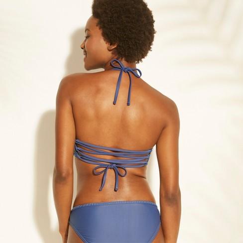 033f782a93c1e Women s Crochet High Neck Bikini Top - Xhilaration™ Indigo D DD Cup   Target