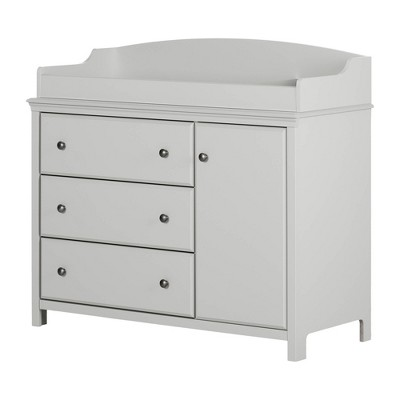 Cotton Candy Changing Table with Station - Soft Gray - South Shore