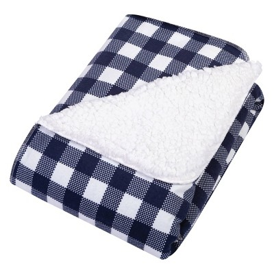 Trend Lab Flannel and Faux Shearling Baby Blanket - Navy/White