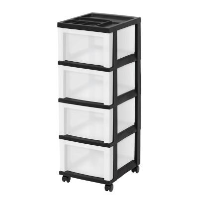 IRIS 4 Drawer Storage Cart with Organizer Top