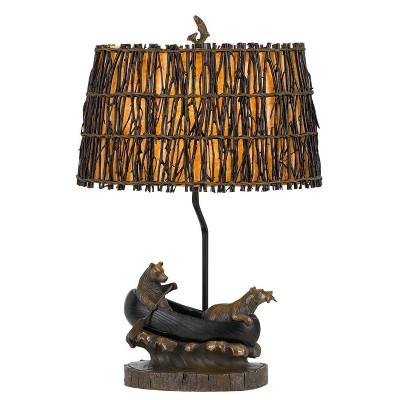"""27"""" Bear Canoe Resin Table Lamp Brown - Cal Lighting"""