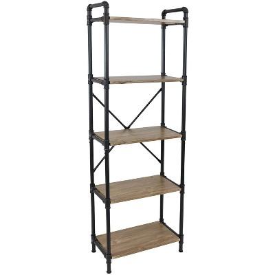 Sunnydaze 5 Shelf Industrial Style Pipe Frame Freestanding Bookshelf with Wood Veneer Shelves - Brown