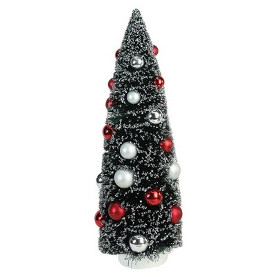 """Northlight 15"""" Red and Silver Pine Artificial Christmas Tree Topper - Unlit"""