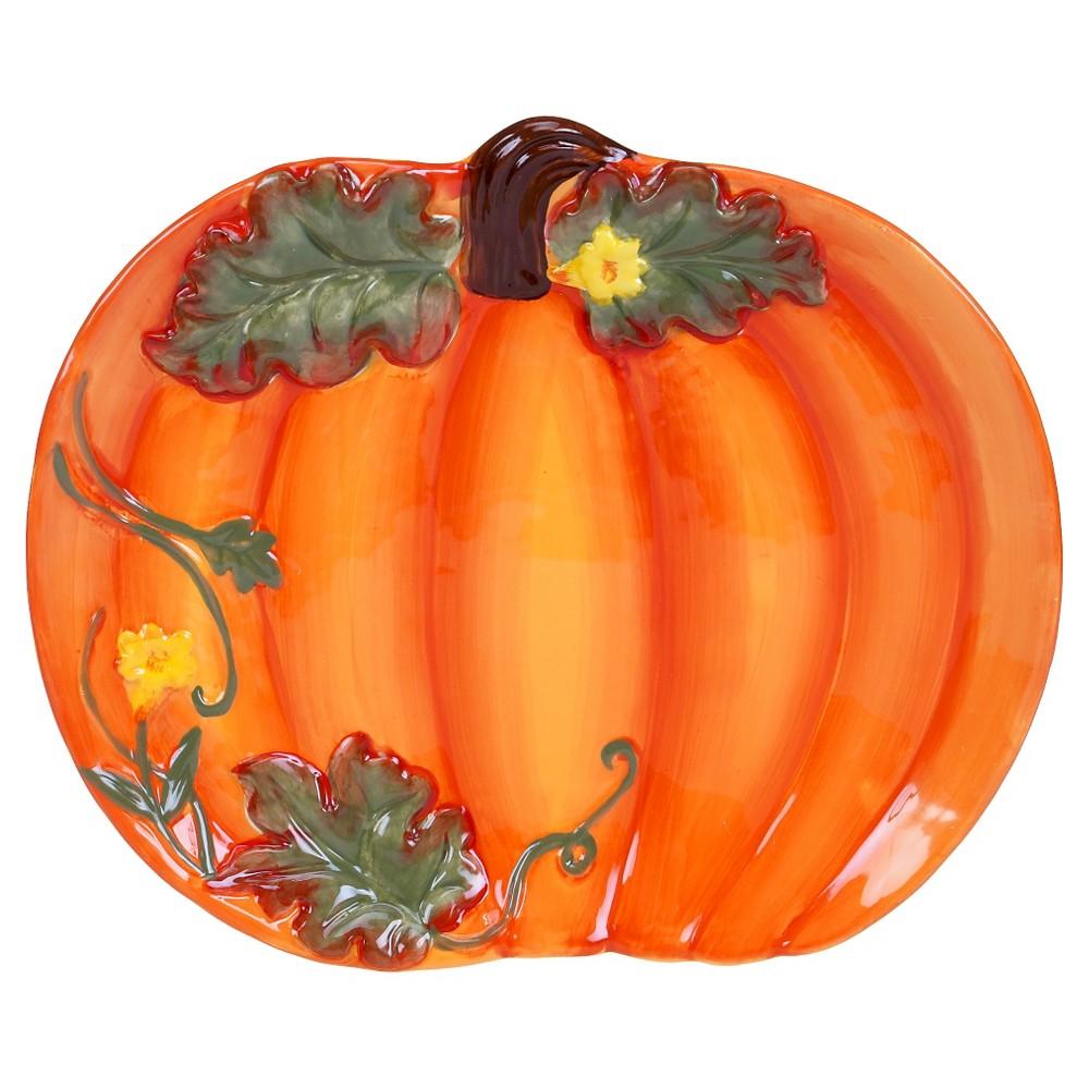 Certified International Botanical Harvest 3-D Pumpkin Platter