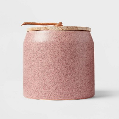12oz Lidded Ceramic Wooden Wick Spiced Apple Cider Red Marsala Candle - Threshold™