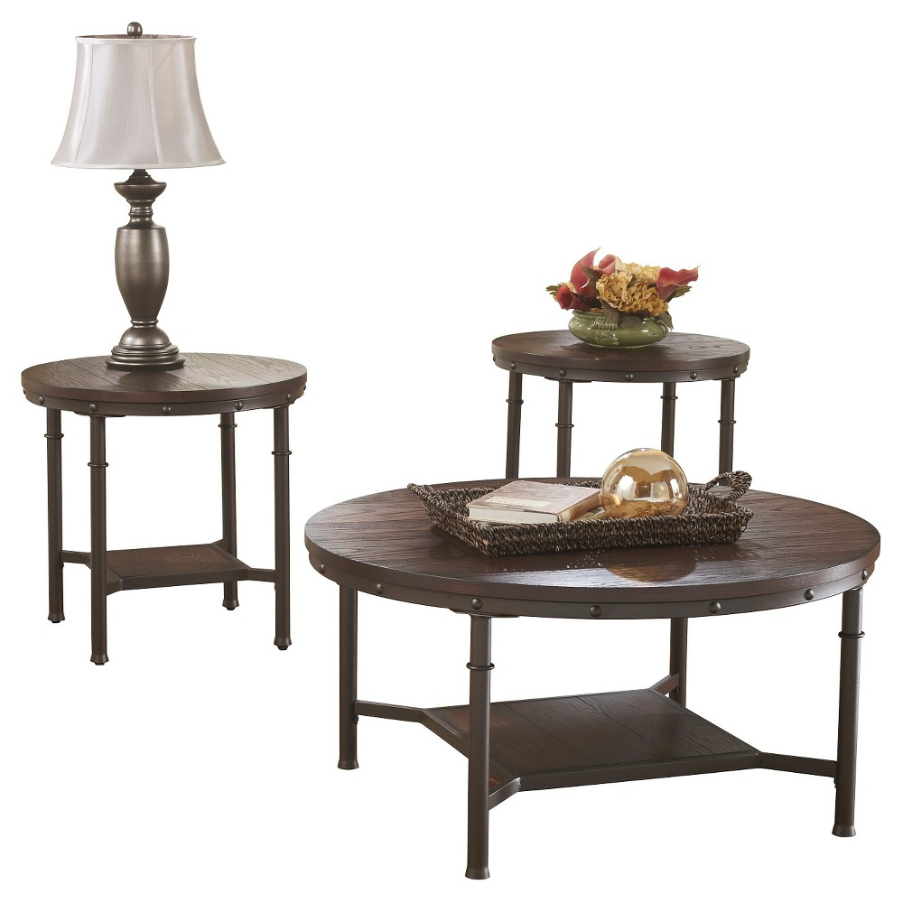 Sandling Occasional Table Set Rustic Brown (Set of 3) - Signature Design by Ashley