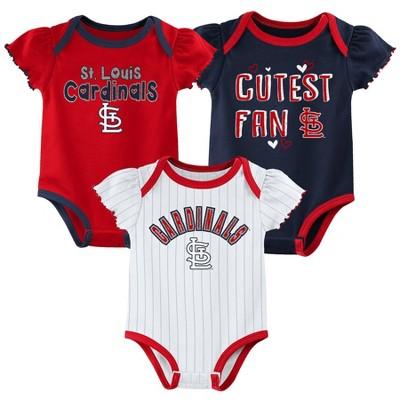 MLB St. Louis Cardinals Baby Girls' 3pk Bodysuit Set
