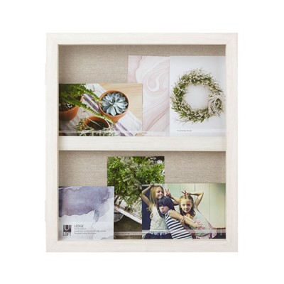"13"" x 15"" Ledge Portrait Photo Display with Real Linen Backer White - Loft By Umbra"
