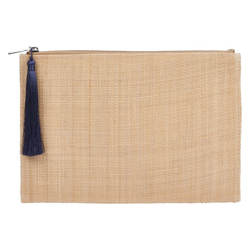 Straw Letter Pouch with Tassel Zip - West Emory - image 1 of 1